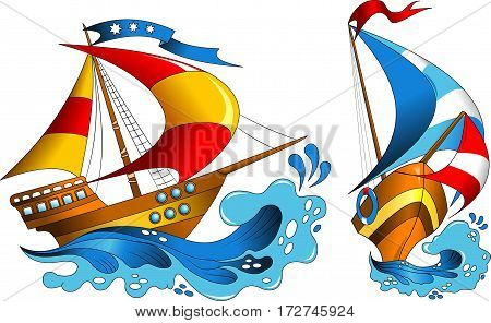 Two small pleasure yachts with colorful sails vector