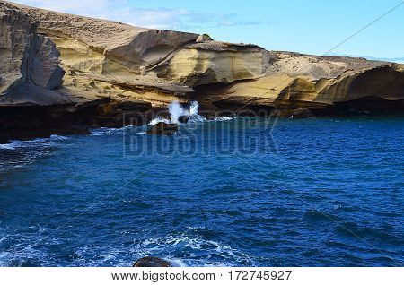 View on rocky coastline and ocean in Tajao,Tenerife,Canary Islands,Spain.