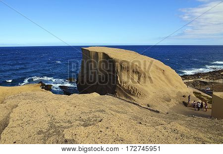 Rocky coastline of Tajao fishing village in the south of Tenerife,Canary Islands,Spain.