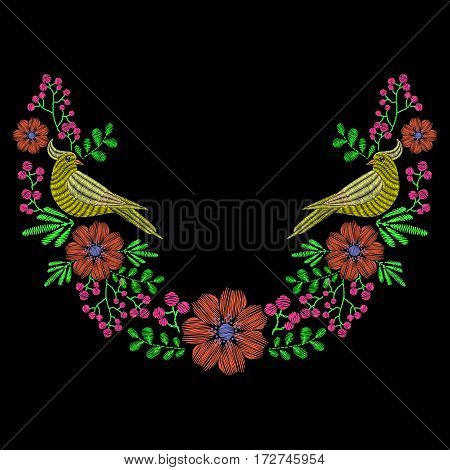 Embroidery with dove bird, wild flowers wreath for neckline. Vector fashion ornament on black background for fabric traditional folk decoration.