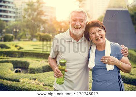Senior Adult Couple Exercise Fitness Strength