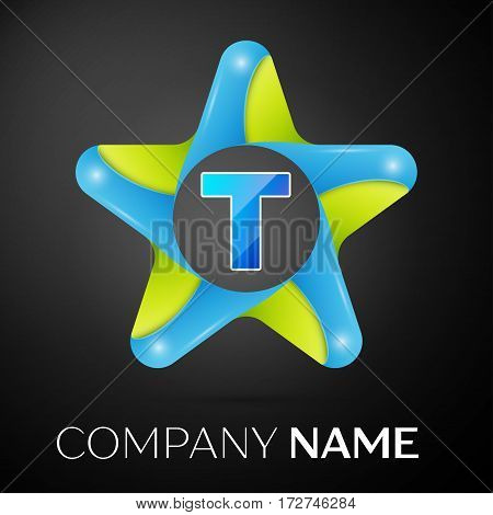 Letter T vector logo symbol in the colorful star on black background. Vector template for your design