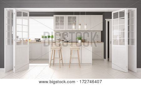 Scandinavian classic kitchen with wooden and white details minimalistic interior design, 3d illustration