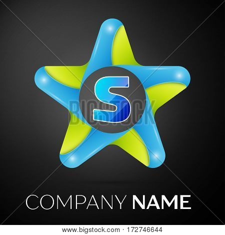Letter S vector logo symbol in the colorful star on black background. Vector template for your design
