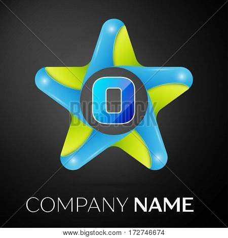 Letter O vector logo symbol in the colorful star on black background. Vector template for your design