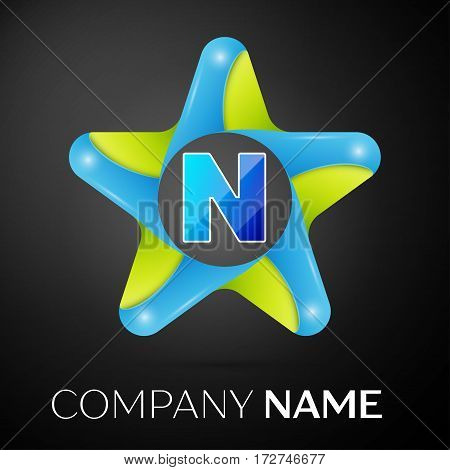 Letter N vector logo symbol in the colorful star on black background. Vector template for your design