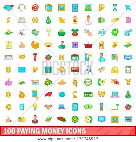 100 paying money icons set in cartoon style for any design vector illustration