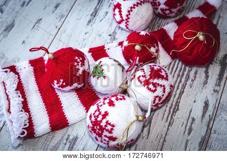Christmas Balls Hand Knitted Toned