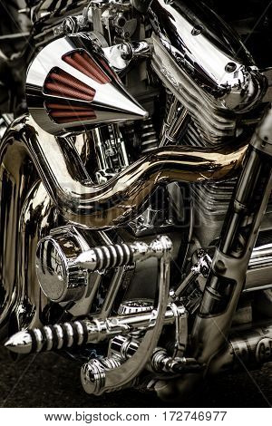 Close up or a customized engine with red air filter