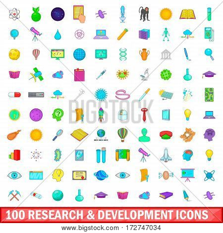 100 research and development icons set in cartoon style for any design vector illustration