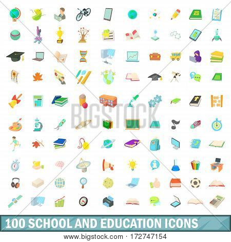 100 school and education icons set in cartoon style for any design vector illustration