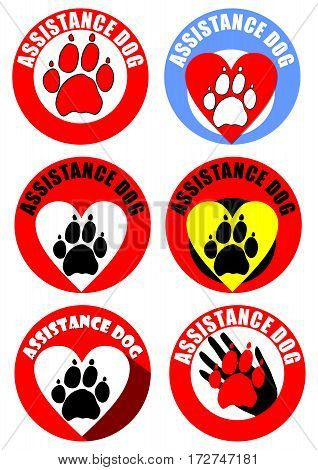 Set of assistant dog emblems and sticker. Motif of dog track heart human hand. Distinctive collection in vivid colors.