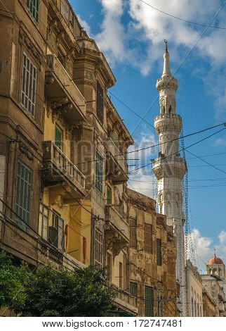 The street view of Alexandria in Egypt