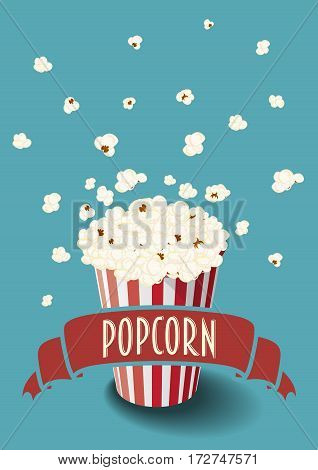 Striped red and white vector bucket of popcorn and ribbon.