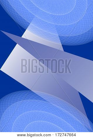 Modern abstract background in blue design ellipse and triangle elements transparency and gradient. Futuristic vector template for book cover flyer leaflet poster.