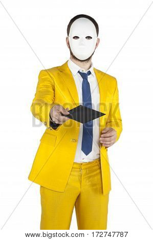 Businessman In A Gold Suit, Gives You An Envelope