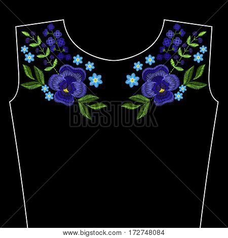 Embroidery stitches with violet flowers for neckline. Vector fashion ornament on black background for textile, fabric traditional folk decoration.