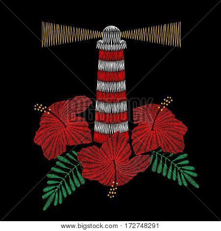 Vector illustration of lighthouse embroidery with hibiscus flowers. Fashion ornamental print, patch, badge on black background for textile, fabric modern decoration.