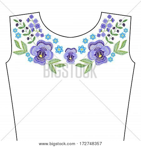 Embroidery stitches with spring violet flowers, indigo forget me not for neckline. Vector fashion ornament for textile, fabric traditional folk decoration.