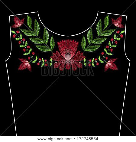 Embroidery stitches with spring rose flowers for neckline. Vector fashion ornament on black background for textile, fabric traditional folk floraldecoration.