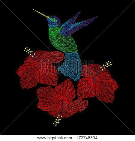 Embroidery hummingbird with hibiskus flowers. Vector fashion ornamental print for textile, fabric traditional folk decoration.