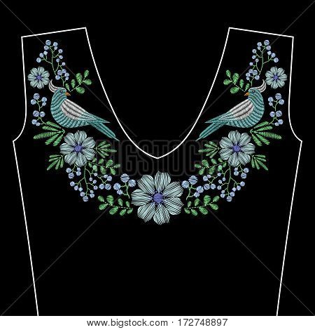 Embroidery stitches with dove bird, indigo wild flowers for neckline. Vector fashion ornament on black background for fabric traditional folk decoration.