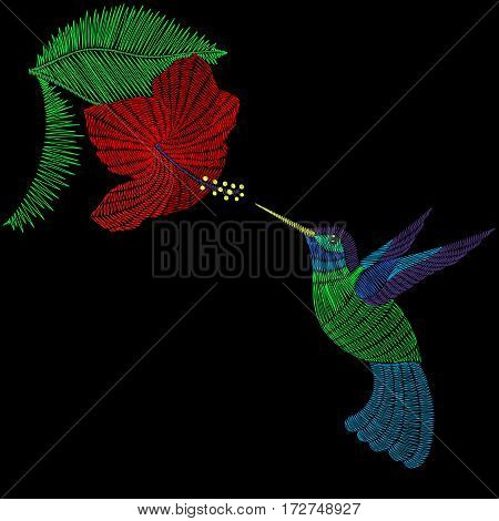 Embroidery hummingbird, exotic tropical bird with hibiskus flower. Vector fashion ornamental print for textile, fabric traditional folk decoration.