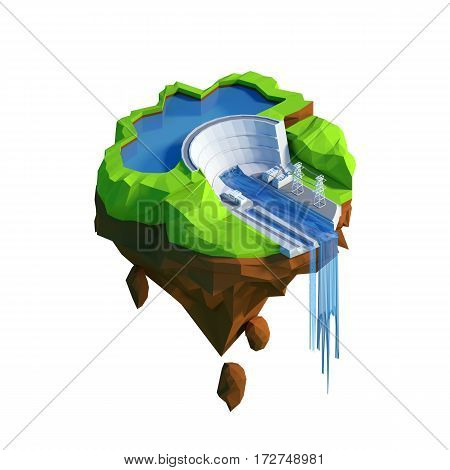 Isometric view low poly hydroelectricity power station concept. 3D illustration