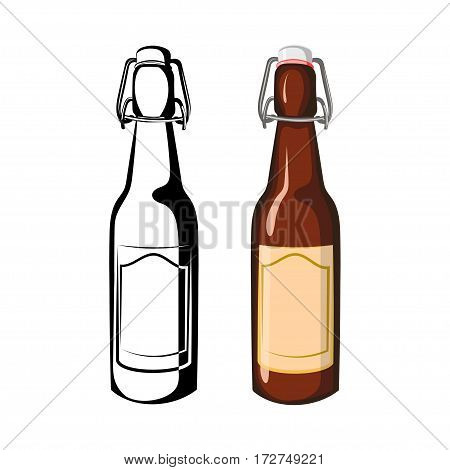 Vector black and white and color illustration half-liter bottles of beer on a white background