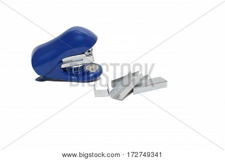 Blue stapler with staples on white background. Isolated on white