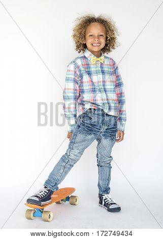 Little Boy Smiling Happiness Skateboard Sport Portrait