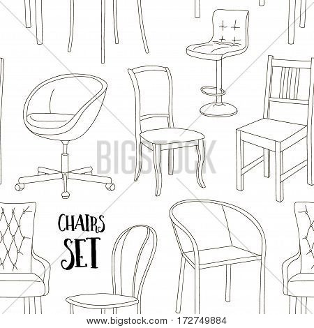 Set of armchairs and chairs and tables set pattern. Architecture interior design home and office furniture. Isolated on white, vector