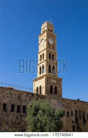 Khan al-Umdan Clock Tower in Old City Acre Israel. Ottoman landmark building