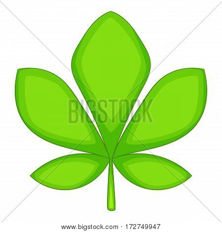 Five lobes green leaf icon. Cartoon illustration of five lobes green leaf vector icon for web