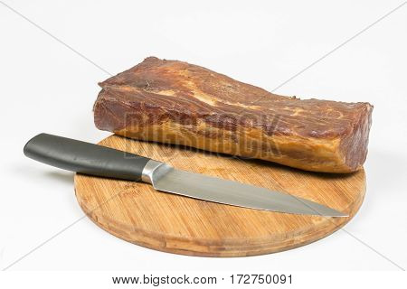 Whole Domestic Smoked Sirloin With Knife On The Wooden Board