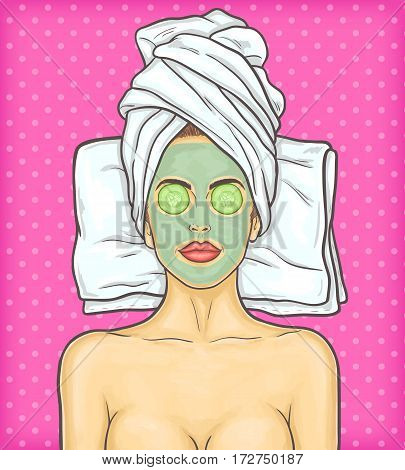 Vector pop art illustration portrait of a young beautiful woman with cosmetic mask on her face