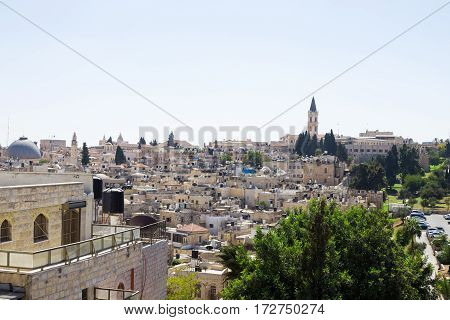 View of the old city of Jerusalem Israel. Christian church on the background. Holy place