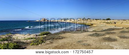 National park Caesarea on the coast of Mediterranean sea Israel. Ancient Roman amphitheater. Panorama in high size