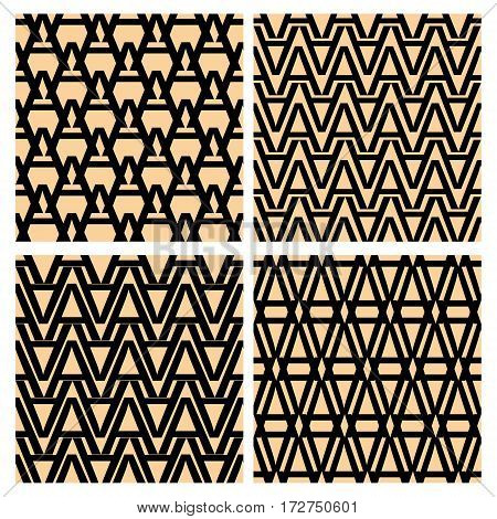 Letter paterns. Pattern derived from the shape of the letter A. Simple geometric patterns. Set of letter patterns. Seamless patterns collection.