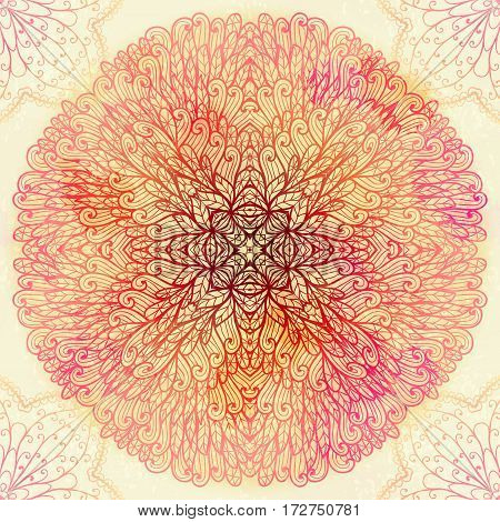 Hand drawn ethnic circular pink floral ornament