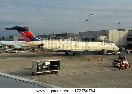 Fort Lauderdale, FL, USA - DEC. 25, 2014: Delta Air Lines McDonnell Douglas MD-80 at Fort Lauderdale - Hollywood International Airport, Fort Lauderdale, Florida, USA.