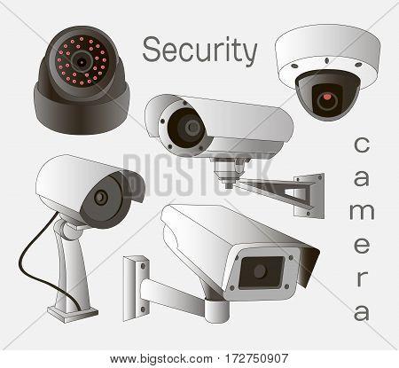 Security camera set . Vector Illustration isolated on white background