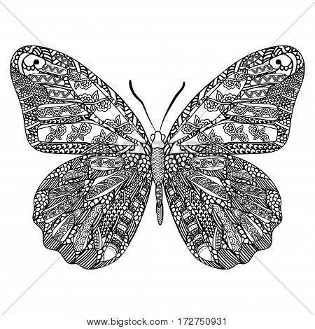 Butterfly with ethnic doodle pattern. Zentangle inspired pattern for anti stress coloring book pages for adults and kids