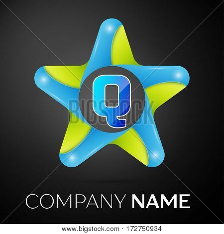 Letter Q vector logo symbol in the colorful star on black background. Vector template for your design