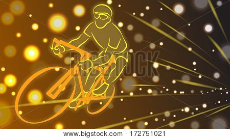 Light line of racer ride the bicycle on brown background