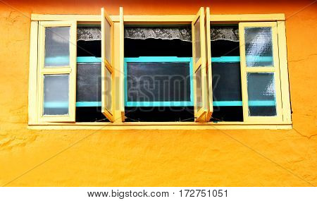 Old house window in Chinese quarter of Kuching Sarawak Borneo