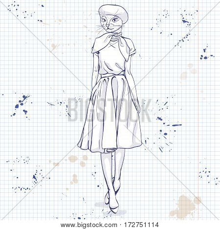Vector elegant woman with cats had and beret and scarf on a notebook page