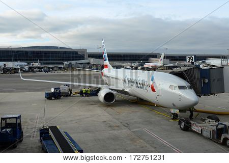 NEW YORK CITY - MAY. 29, 2014: American Airlines Boeing 737-800 at John F. Kennedy International Airport, New York City, NY, USA.