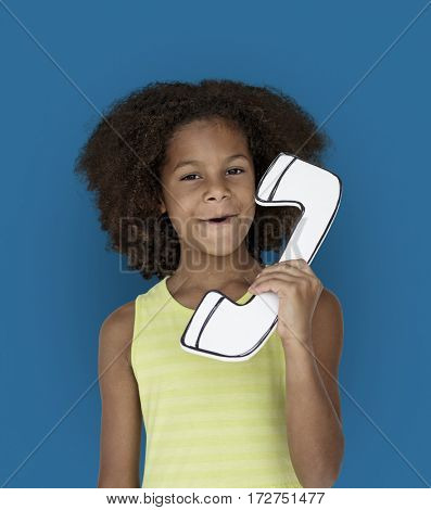 Little African Kid Paper craft Telephone Studio Portrait Concept