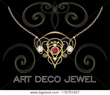 Golden jewel with red gem and pearls. Necklace in art deco style. Filigree circle pendant on fine golden chain.